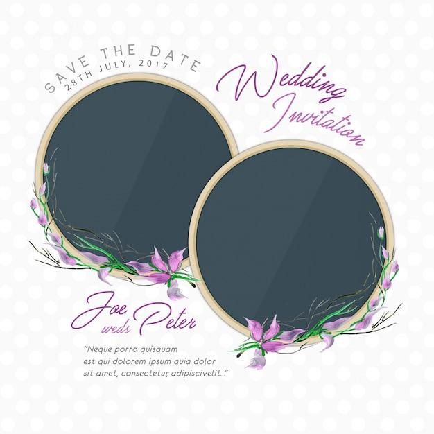 Свадебное приглашение с цветами Бесплатные векторы