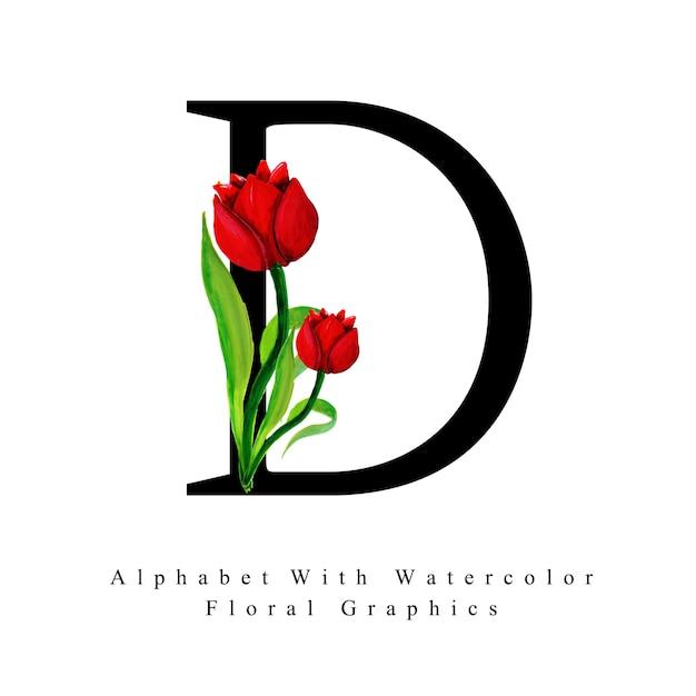 手紙d水彩花の背景 ベクター画像 無料ダウンロード
