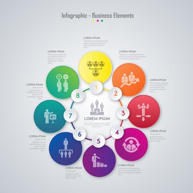 бизнес-элементы инфографические Бесплатные векторы