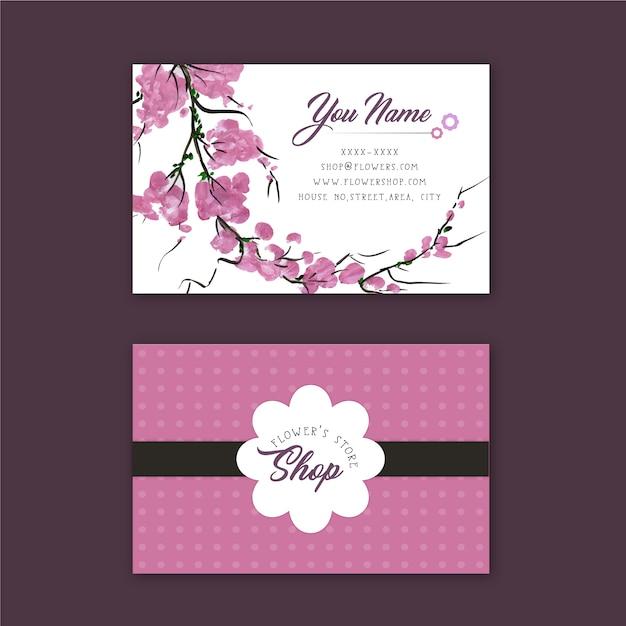 ピンクの花の店名刺 無料ベクター
