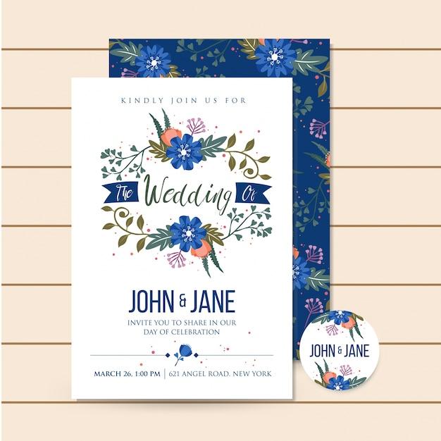 美しい青の豪華な結婚式の招待花のイラスト 無料ベクター