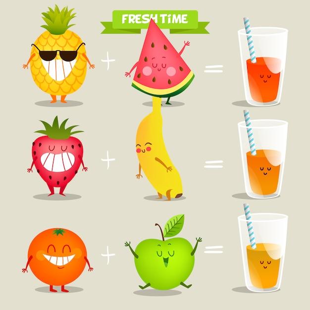 フルーツジュースの背景デザイン 無料ベクター