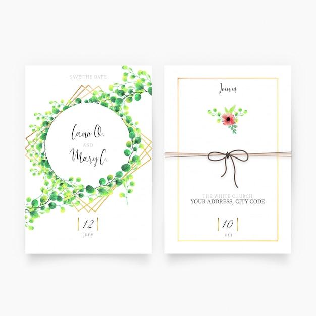 花結婚式の招待状 無料ベクター