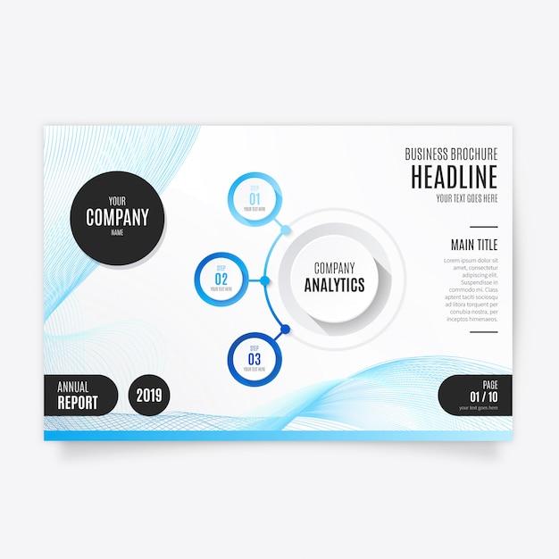 ビジネスのための青い近代的なパンフレットのテンプレート 無料ベクター