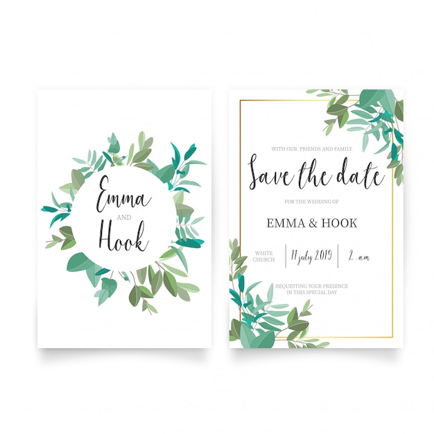 美しい結婚式の招待状のテンプレート 無料ベクター