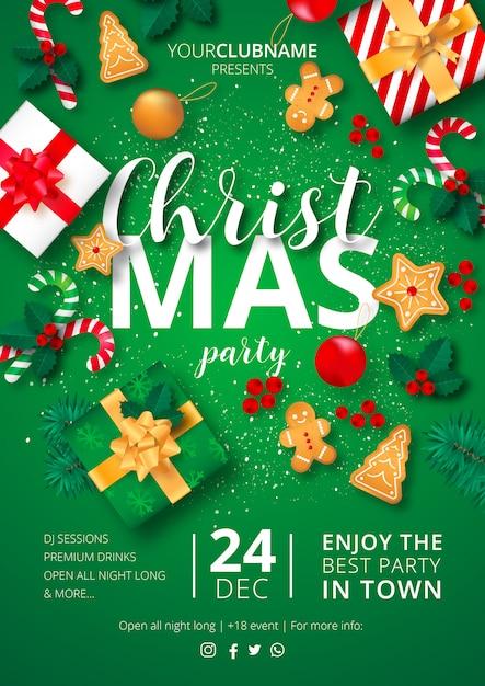 クリスマスパーティポスターポスター 無料ベクター