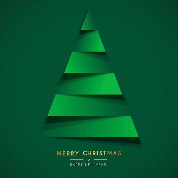 Papercutクリスマスツリーと抽象的なクリスマスカードテンプレート 無料ベクター