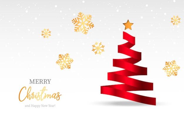 抽象的なツリーとエレガントなクリスマスの背景 無料ベクター