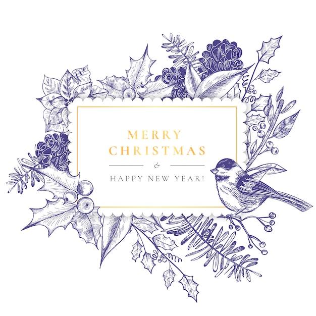 Старинная рождественская рамка с винтажной природой Бесплатные векторы
