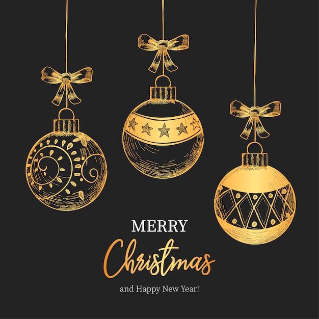 Урожай Рождественский фон с красивыми рождественскими шарами Бесплатные векторы