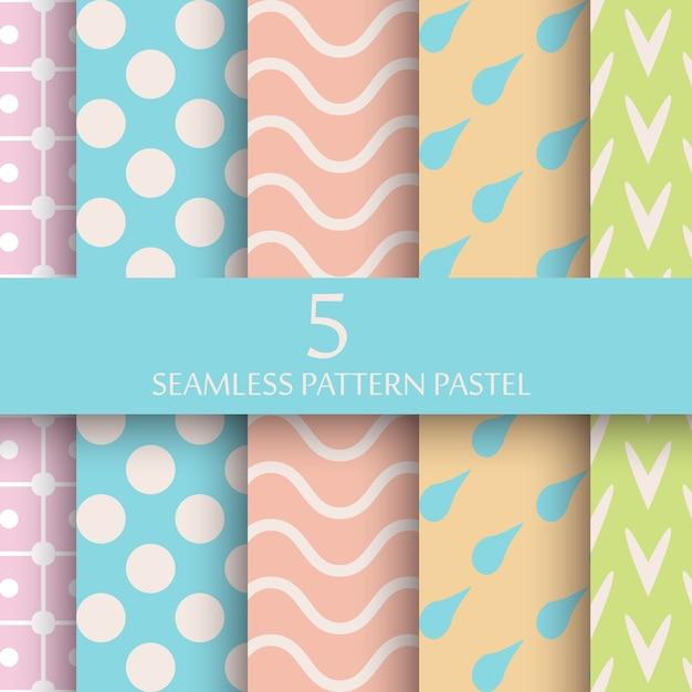 パステルのシームレスなパターンの壁紙のセット 無料ベクター