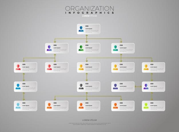 組織のインフォグラフィックテンプレート 無料ベクター