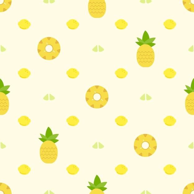 パイナップルのパターンの背景 無料ベクター