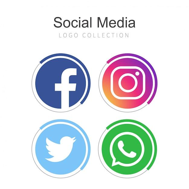Популярная коллекция логотипов в социальных сетях Бесплатные векторы
