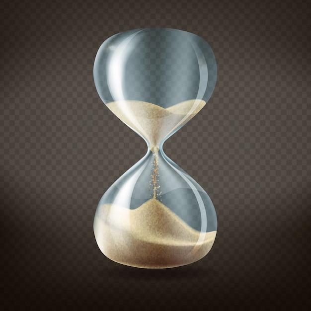 実行中の砂の中で、暗い透明な背景に隔離された3d現実的な砂時計。 無料ベクター