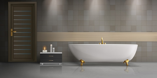 モダンなバスルームのインテリアデザインの現実的なモックアップ 無料ベクター