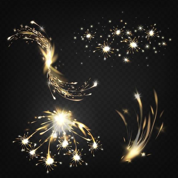 Искры или горящие частицы Бесплатные векторы