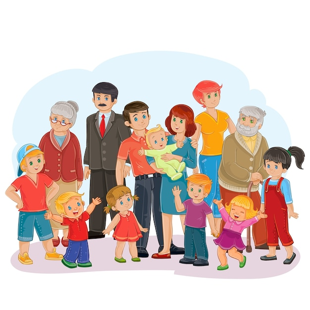 Вектор большая счастливая семья - прадед, прабабушка, дедушка, бабушка, папа, мама, дочери и сыновья Бесплатные векторы