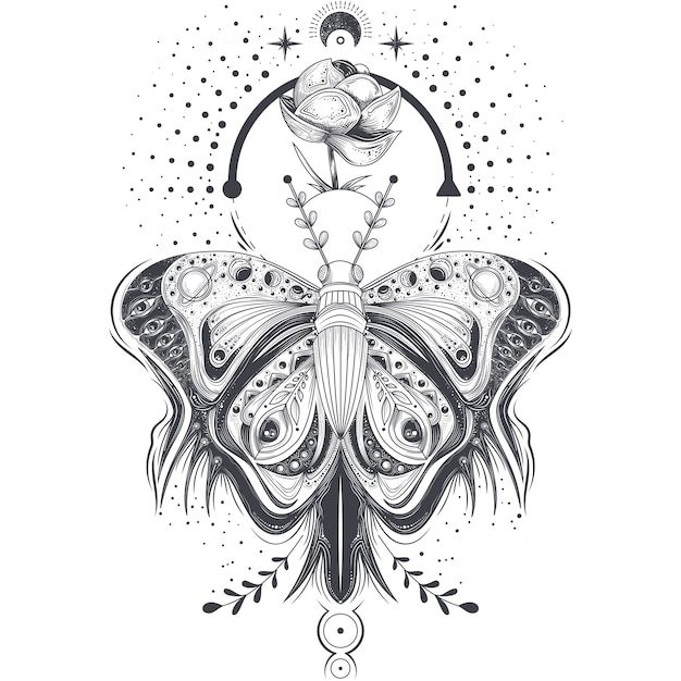 スケッチ、タトゥーアートのベクトル図抽象的なスタイル、神秘的な、占星術のシンボルで蝶。 無料ベクター