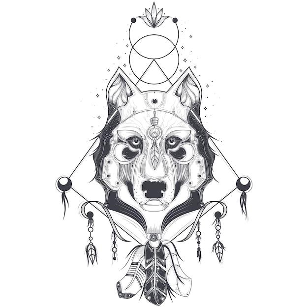 オオカミの頭、タトゥーの幾何学的スケッチの正面図のベクトル図 無料ベクター