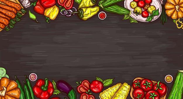Векторные иллюстрации мультфильм различных овощей на деревянном фоне. Бесплатные векторы