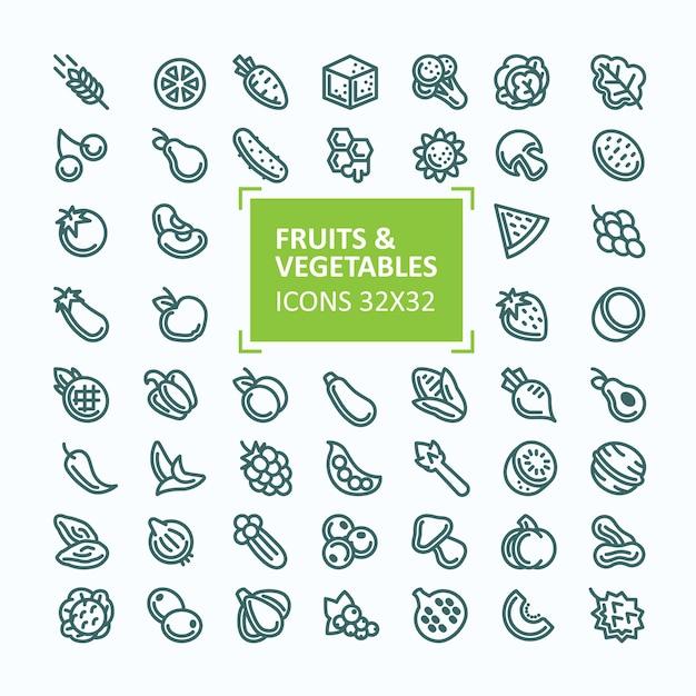 細い線、編集可能なストロークのスタイルで果物や野菜のベクトルアイコンのセット 無料ベクター
