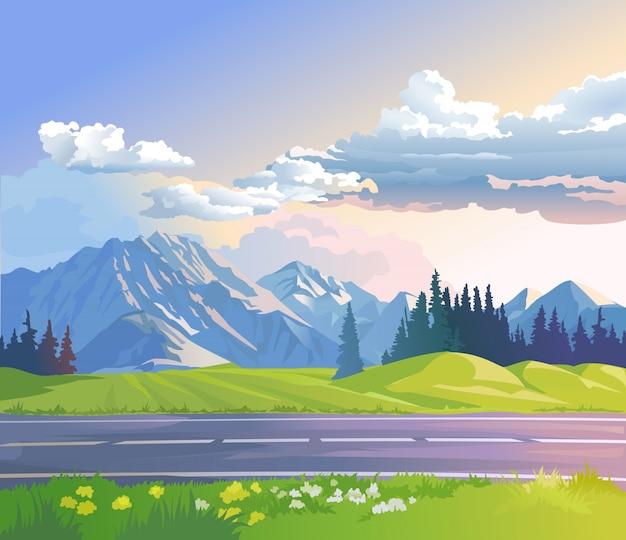 山の風景のベクトル図 無料ベクター