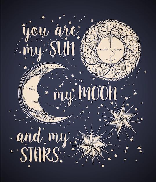 太陽、月、星 Premiumベクター