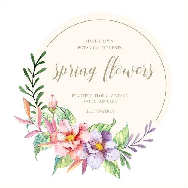 水彩春の花 Premiumベクター