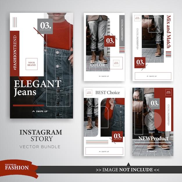 カラフルなファッションはInstagramの物語テンプレートを作る Premiumベクター