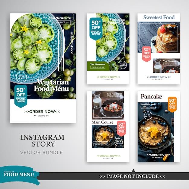 フード&料理Instagramストーリーストーリープロモーションテンプレート Premiumベクター