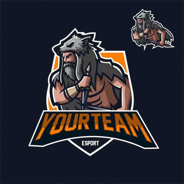 バイキング戦士esportゲームマスコットロゴテンプレート ベクター画像