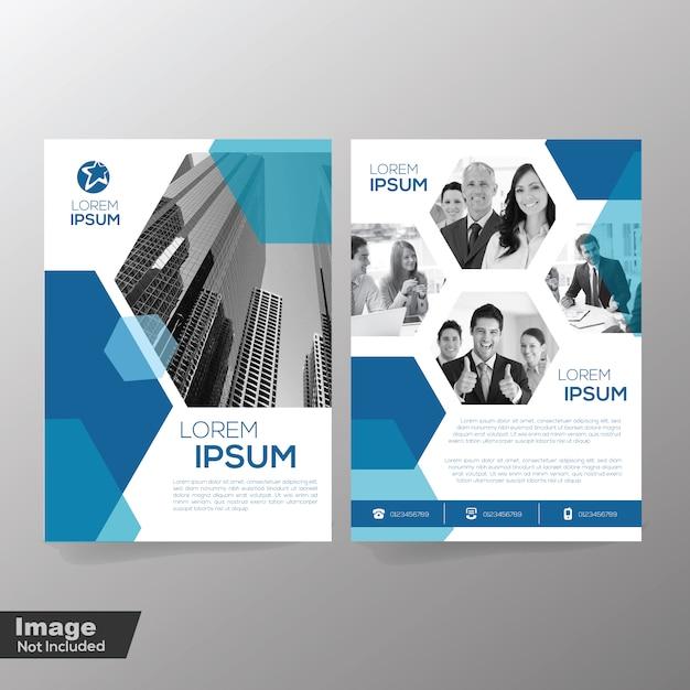 ポリゴン要素テンプレートによるパンフレットデザイン Premiumベクター