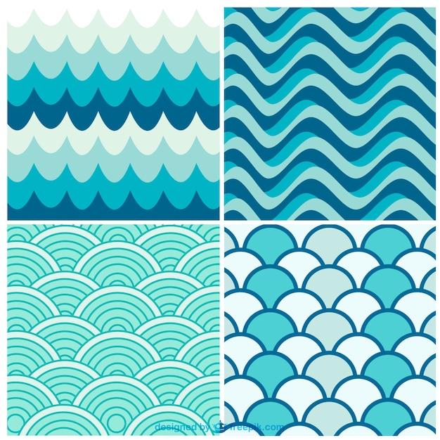 水の波レトロパターン 無料ベクター