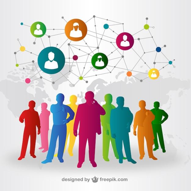 人々のソーシャルメディアとの相互作用ベクトル 無料ベクター