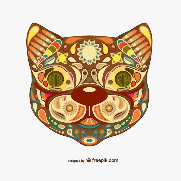 装飾花の猫のデザイン 無料ベクター
