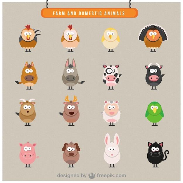 фермы домашние животные иконки Бесплатные векторы