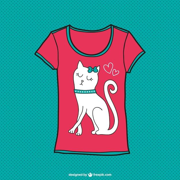 かわいい猫のTシャツデザイン 無料ベクター