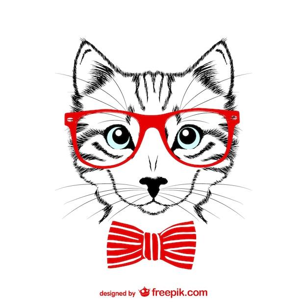 ヒップスターの猫ベクトル図 無料ベクター