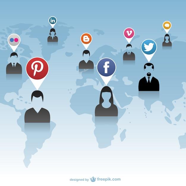 グローバル·ネットワークソーシャルメディアとの対話 無料ベクター