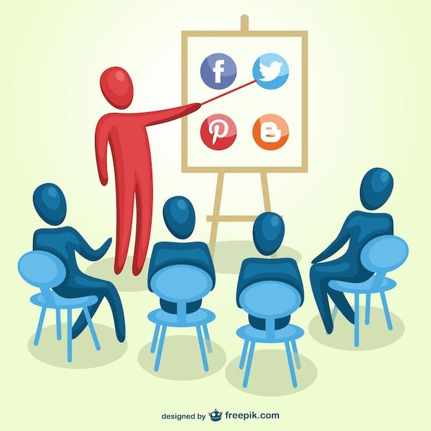 ソーシャルメディアマーケティングの訓練ベクトル 無料ベクター