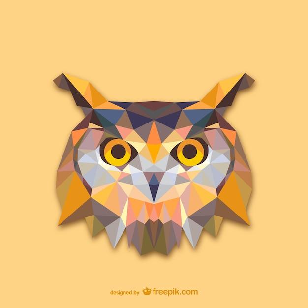 三角フクロウのデザイン 無料ベクター