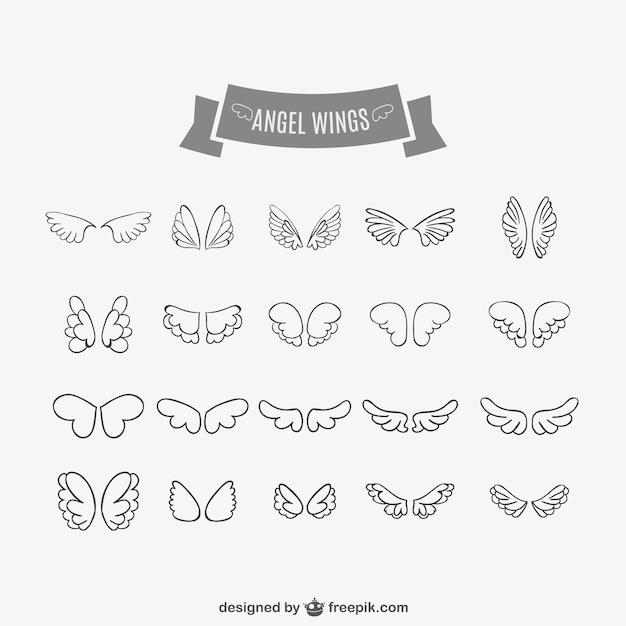 天使の羽の落書きセット 無料ベクター