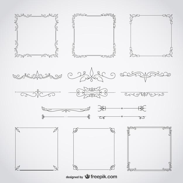 каллиграфические рамки декоративные цветочные набор Бесплатные векторы