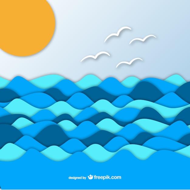紙のグラフィックの背景に海 無料ベクター