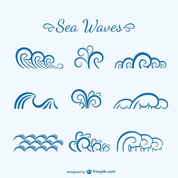 海の波のスケッチ 無料ベクター