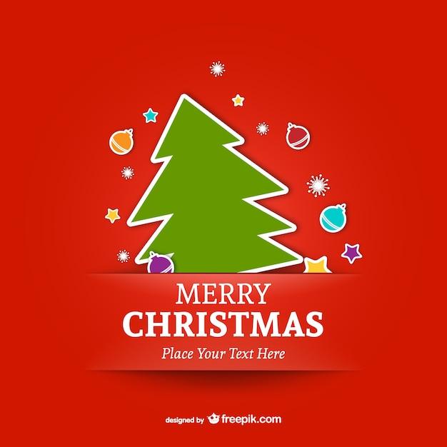 ツリーとメリークリスマステンプレート ベクター画像 無料ダウンロード