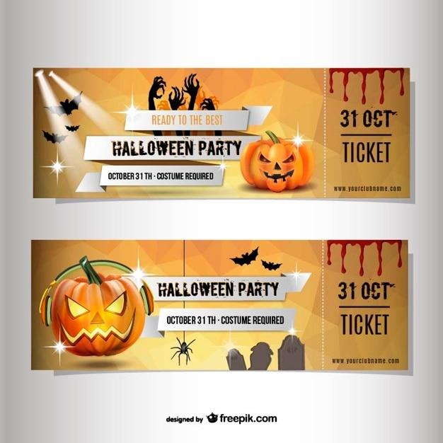 ハロウィーン仮装パーティーのチケット ベクター画像 無料ダウンロード