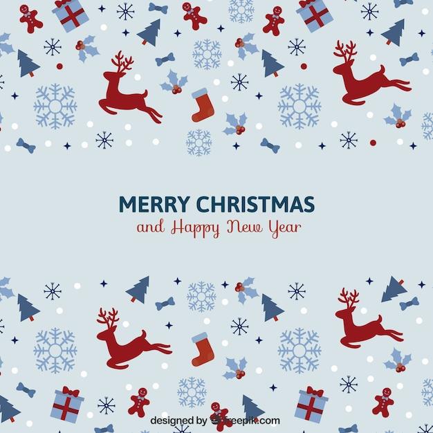 ヴィンテージミニマリストクリスマスカード Premiumベクター