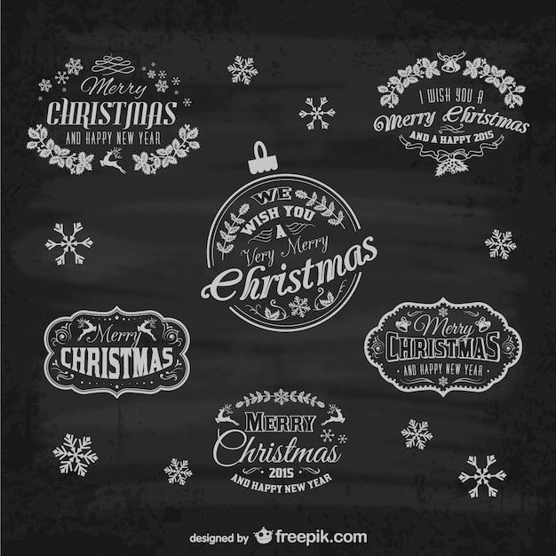 Ретро Рождественские этикетки Бесплатные векторы